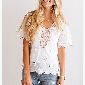 NWOT eyelet embroidered white top